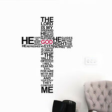 The Lord is my Shepherd Cross Bible Verse Sticker Vinyl Home Wall Decal Decor UK