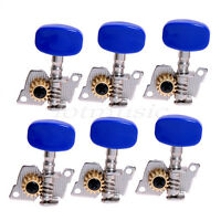 6L Classical Guitar Tuner Machine Heads Tuning Peg Tuners Blue Button Pegs Keys