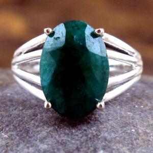 Sakota Mine Emerald Gemstone 925 sterling Silver Jewelry Solid Ring Size US 7