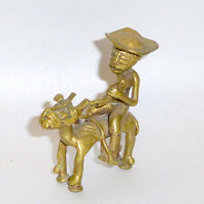 "Vintage 3 1/2"" Bronze Primitive Sculpture of Peasant Hunting with Native Horse"