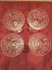 4 VINTAGE FOSTORIA CHINTZ PATTERN ETCHED PANELED WINE Or Sherry GLASSES