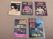 OZZY OSBOURNE Collection of FIVE Laminated Backstage Tour Passes (x5)