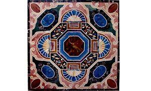 4'x4' Marmor Schwarz Quadratisch Ess Table Top Precious Mosaik Inlay Stein Art