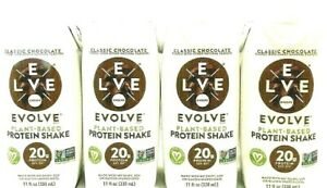 Evolve Plant-Based Protein shake Classic Chocolate Flavor 11 oz ( Pack of 4 )