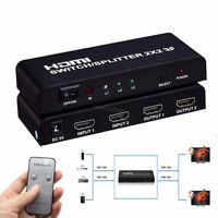 1080P 2 Port HDMI Switcher + Splitter 2 In 2 Out Audio Converter With IR Remote