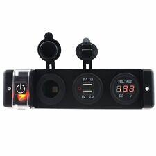 Car Voltmeter DC12V-24V Power Cigarette Socket dual USB 3.1A Adapter with switch