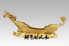 China Fengshui Dragon Boat Ship Bronze Statue