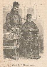A2160 Monaci della Russia - Xilografia - Stampa Antica del 1895 - Engraving
