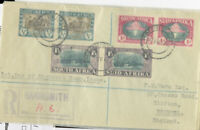 South Africa Stamps # B9-11 VF COVER Pairs Tied On Registered Harris Cover Rare