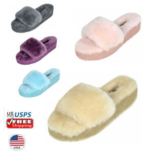 Women's Faux Fur Comfy Lightweight Open Toe Indoor Outdoor House Slippers