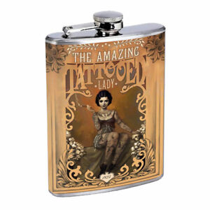 Vintage Freak Show Poster D16 Flask 8oz Stainless Steel Hip Drinking Whiskey