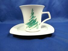 Set (s) of 4 Coffee Cups Mugs & Saucers EVERGREEN Nikko Japan