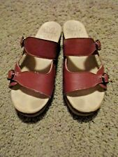 d7df8f79bb3 BROWN LEATHER SANITA COMFORT CLOG 2-STRAP SANDALS MULES SIZE 38 (7-7.5