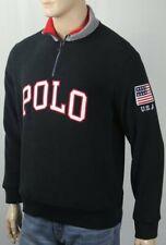 Polo Ralph Lauren Black Half Zip Fleece Jacket USA Flag NWT $148