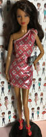 Barbie Doll Clothes LOT Red/Silver One Shoulder Dress Shoes Purse Mattel New