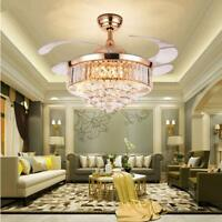 "36""/42"" Remote Invisible Ceiling Fan Light Crystal Chandelier Home Lamp Fixtures"