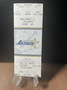 HOUSTON ASTROS VS ATLANTA BRAVES TICKET UNUSED VINTAGE 8/21/95 ASTRODOME