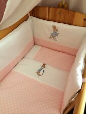 Peter Rabbit  Nursery Package Cot set nappy stacker Fleece Blanket.Blue Or Pink