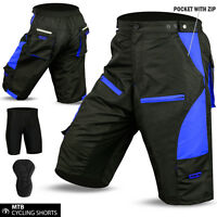 Cycling MTB Short Off Road Cycle Coolmax Padded Liner Shorts Blue