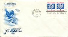 1988 OFFICIAL MAIL STAMP LETTER E 2 STAMP COIL ART CRAFT CACHET UNADDRESSED FDC