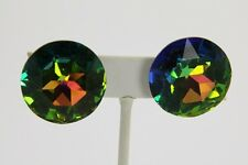 80s VINTAGE Jewelry ARTISAN HUGE 35mm SWAROVSKI VITRAIL CRYSTAL EARRINGS