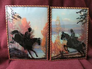 Vintage 2 HORSE & RIDER REVERSE PAINTED SILHOUETTE PICTURES CONVEX BUBBLE GLASS
