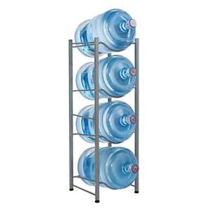 4 Layer, Silver Whthteey Multi-Tier 5 Gallon Water Bottle Rack Heavy Duty Collapsible Cooler Jug Storage Holder Shelf