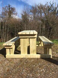 Shipley Wooden Bench - Heavy Duty Outdoor Wooden Walk In Picnic Table