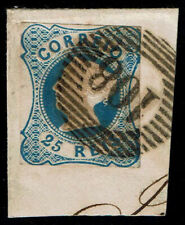PORTUGAL D.Maria II 25 Reis tied on piece w/ 20-bar Carimbo 108 PONTE da BARCA