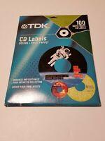 TDK CD Matte White Labels 100 Pack, Design, Print, Apply, New