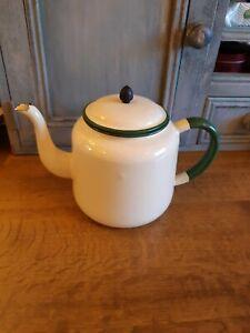 Large Cream And Green Enamel Teapot