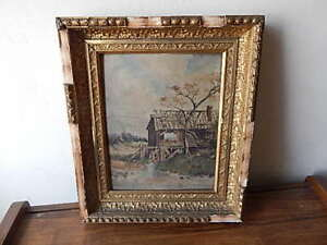 ANTIQUE SIGNED A ROTH OIL ON BOARD PAINTING  W ROUGH FRAME INTL SALE