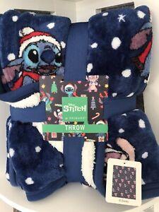 Disney LILO & STITCH CHRISTMAS Fleece Throw Blanket Primark Gift BNWT 120x150 cm