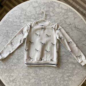 Janie and Jack horse equestrian sweatshirt girls 8 cotton sweater pullover white