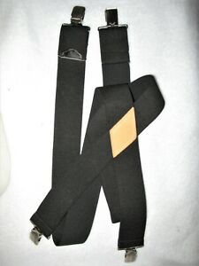 "Men's Black Heavy Suspenders 2"" Wide 44"" Long w/ Metal Clips"