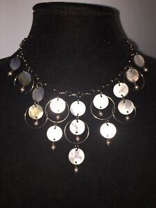 LIA SOPHIA Necklace Shell Pearl Mother Of Pearl Abalone Circle Cream Blue Pink