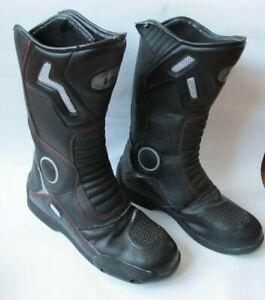 Black Eco Leather Motorbike Motorcycle Racing Sports Boots Shoes Size 8UK