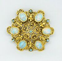 Blue White Speckled Art Glass Cabochon Gold Tone Filigree Brooch