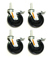 """Set of Four 5"""" Hard Rubber Scaffold Brake Casters 13/16"""" Round Stem"""