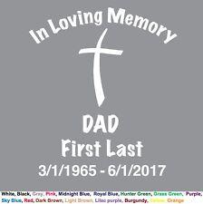 In Loving Memory - DAD Cross Christian Custom Memorial Decal Sticker