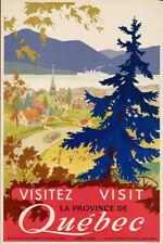 3x4 inch Vintage Art Visit QUEBEC Canada STICKER - ca canadian old travel visit