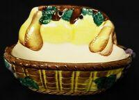 Vintage Ceramic Wall Pocket Weaved Fruit Basket Yellow Brown White Grapes Japan