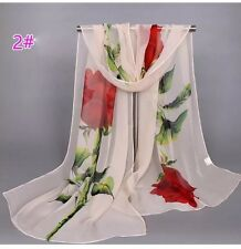 New SUMMER SPRING PEACH Red Roses Chiffon Scarf Soft Shawl Neck Wrap Stole
