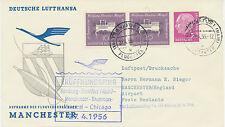 "2415 1956 First Flight Dt. Lufthansa ""HAMBURG – MANCHESTER"" (via FRANKFURT/M.)"