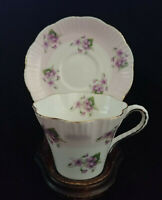 Salisbury Floral Violets 2 Tone Lavender/Pink and White Cup and Saucer England