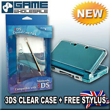 Quality Blue Ocean Crystal Clear Hard Case & Stylus For Nintendo 3DS (NEW)
