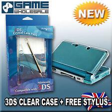 Qualità dell' Oceano Blu Crystal Clear Hard Case & Stylus per Nintendo 3DS (NUOVO)