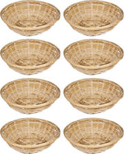 8 x Small Round Wicker Baskets Fruit Snacks Storage Natural Bamboo Gift Hampers