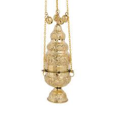 Greek Russian Large Brass Liturgical Church Thurible Censer 4 chains 12 bells