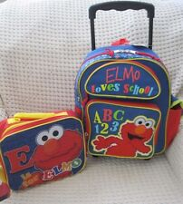 "Sesame Street Tickle Me Elmo 12"" Rolling Backpack & Matching Lunch Bag-New!"